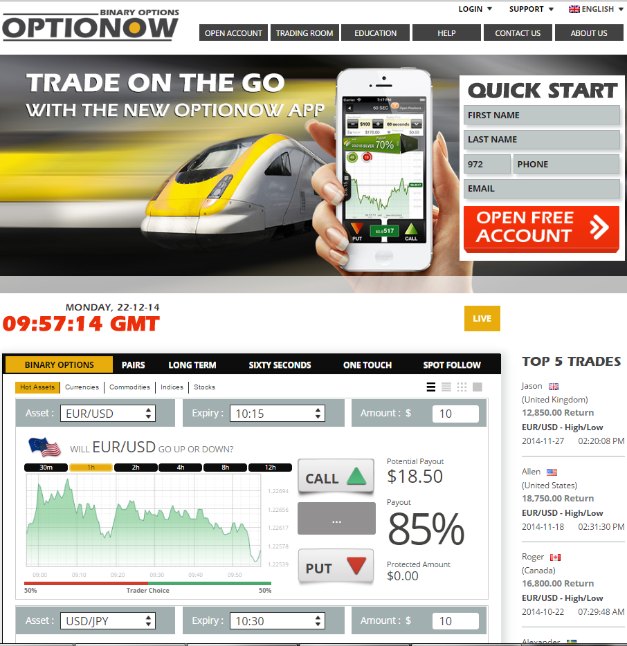 no deposit required binary options